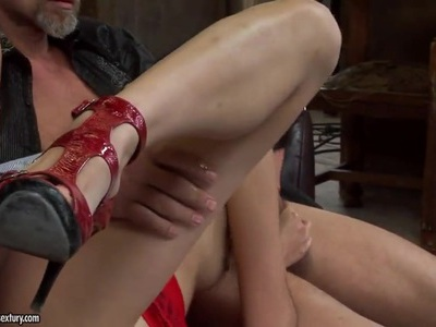 Backstage with super cute Asian girl Yiki fucked in the ass and mouth by two dudes