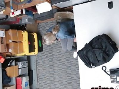 Blonde shoplifter gets roughly banged in office