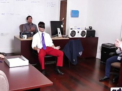 Costume party at the office ends up in hot threesome