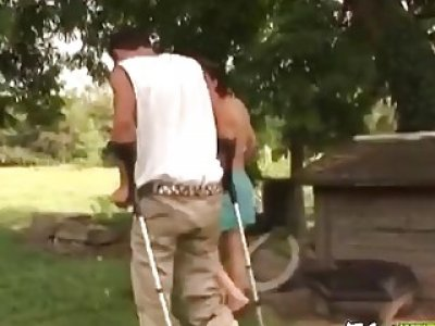 Handicapped man gets lucky with sexy nurse and fucks her outdoors