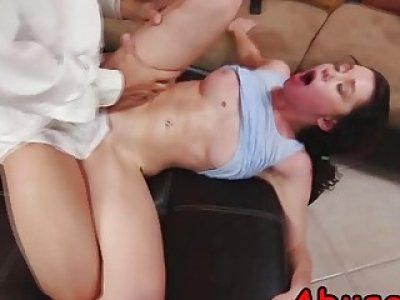 A pretty brunette girl Ryland Ann enjoys rough fucking with her lover