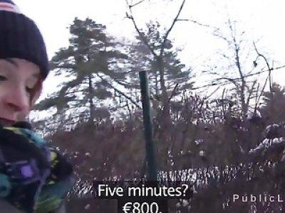 Amateur babe fucks in car at mountain