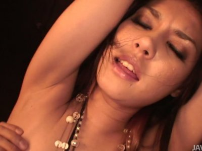 Slutty bitch Maria Ozawa gets her pussy pleased by small bright dildo