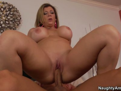 Fabulous busty cougar Sara Jay gets her mature cunt drilled bad