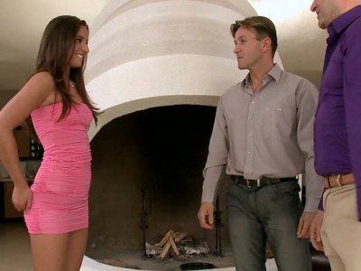 Astonishing brunette Amirah Adara gets on her knees to suck two guys
