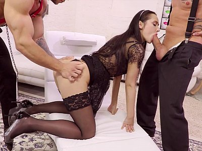 Girl in stockings banged by two brutal guys