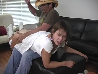 Cowgirl spanked hard on the bare