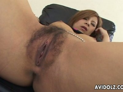 Hot Japanese slut Kana Kawai gets her hairy muff poked with vibrator