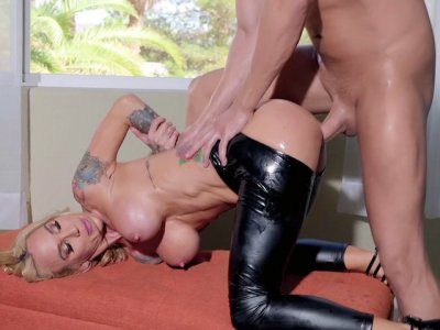 Busty mom Sarah Jessie gets pussy penetrated from behind