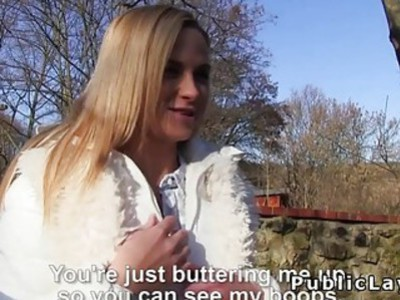 Blonde amateur flashing and fucking in public