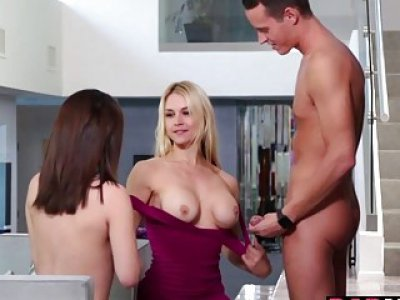 Lucky neighbor 3some fuck with Lily and mom Sarah