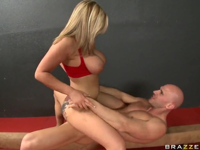 Passionate hot blonde girl Dayna Vendetta is standing on her knees and pleasing Johnny Sins with blow and tit jobs.
