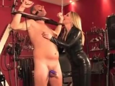 Mistress Dominates Pathetic Sub With Whip