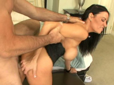 Wild brunette Vanilla DeVille fucks doggy style and stretches her buns