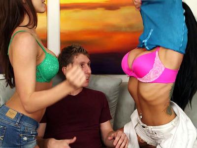Romi Rain and Tiffany Tyler seducing Danny and sucking his dick