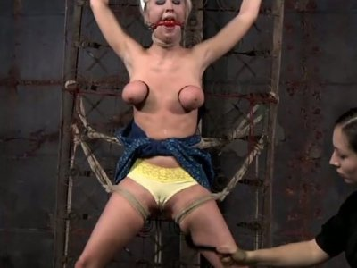 Tied up with ropes bitch Cherry Torn is treated in BDSM way