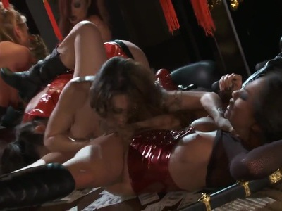 Asian lesbian orgy with Asa Akira and Katsuni