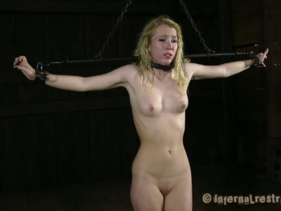 Nicki Blue sucks the dick hanging up side down. BDSM video