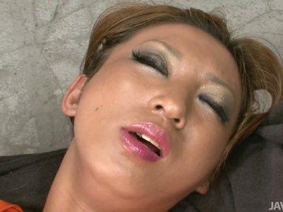 Horny milf Maeda Hina stripping slowly and getting orgazm using toys