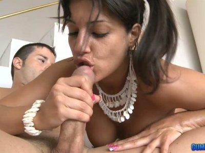Dark skinned Hispanic chick Natalia Zeta gets facial and rides cock