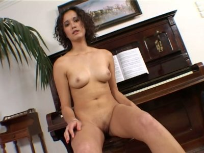 Ordinary chick Klaudia slowly stripteases and shows her pink pussy