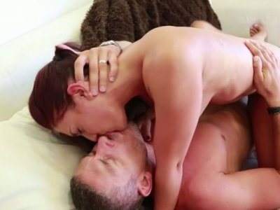 Redhead slut Mischa Brooks rides a cock and sucks the dick in a 69 position