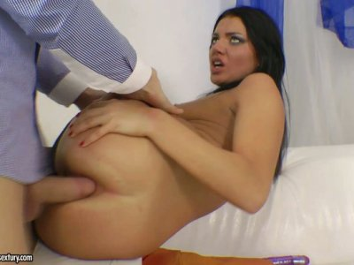 Long haired black head Wendi gets banged from behind