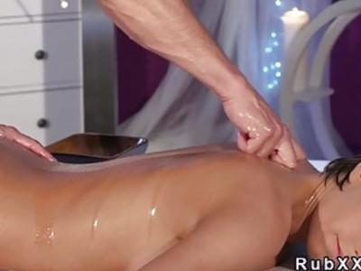 Naked busty babe enjoying in back massage and fuck