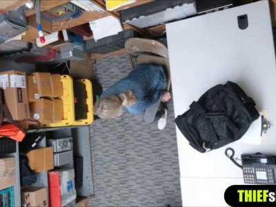 Blonde shoplifter chick punish fucked by a mall officer