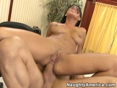 Majestic brunette Eva Angelina loves anal fuck in the office