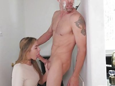Step dads huge cock got suck and fucked on top