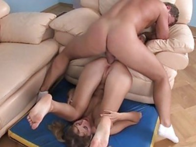 Babe is sucking hunks dick after anal sex