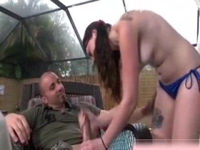 Amateur Bikini Girl Tugging Cock
