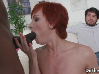 Redhead Wife Kessie Shy Shoves BBC in Every Single Hole as Cuckold Watches