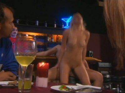 Horny blonde slut Holly Wellin fucking in the bar full of random people