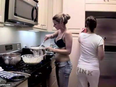 Cindy Hope and Sandy are cooking in the kitchen