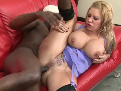 Thick Blond Taking Black Cock