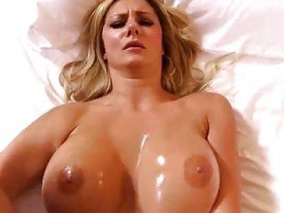 Busty Swedish babe Nikie enjoys hardcore double penetration in bed