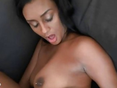 Horny black playgirl gets her pussy rammed by dick