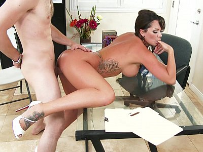 Mrs Dixon helping her student by having sex with him