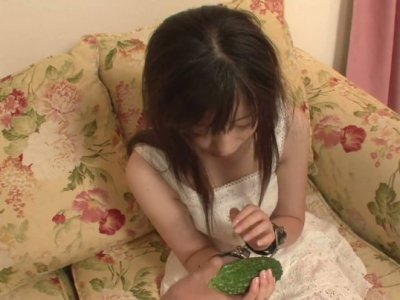 Black haired Asian chick Shizuku gets her juicy pussy stuffed with cock shaped things