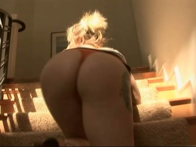 Whorish chick Adrianna Nicole sucks a black dick on the steps