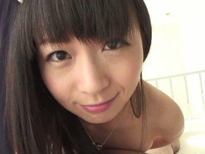 Nozomi Hazuki sucks dick and swallows cum in POV
